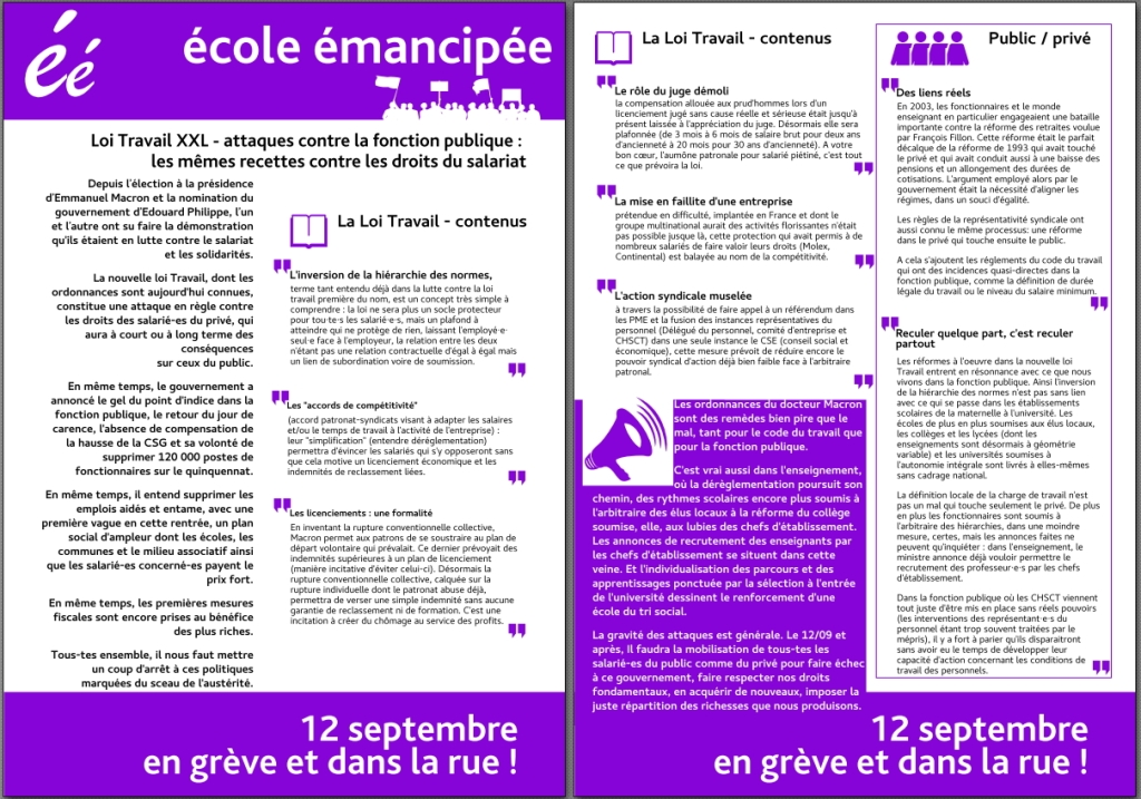 Tract Ecole Emancipee Pour Le 12 09 Nantes Secteur Ouest